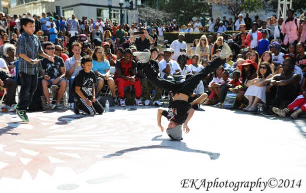 One of Dem Bague Boys busts a headspin at Art & Soul
