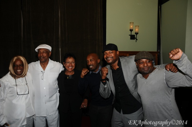 "P-Frank Williams, Elaine Brown, James Mott, Marcus Osborn, and D'Wayne Wiggins at the screening of ""Violence is Necessary"""
