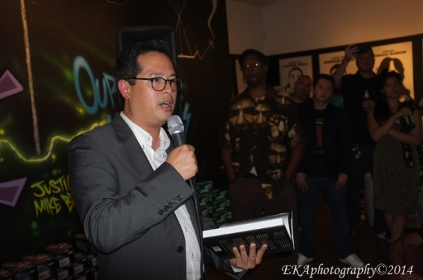 "Author Jeff Chang at an Oakland book release party for ""Who We Be"""