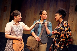 "Michele Apriña Leavy, Lauren Spencer, and Safiya Fredericks in ""Blackademics""; photo courtesy Crowded Fire Theater"