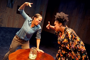 "Lauren Spencer and Safiya fredericks in ""Blackademics""; photo courtesy Crowded Fire Theater"