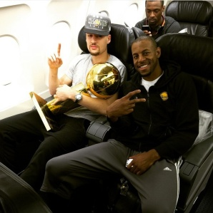 Klay Thompson, Andre Iguodala and Harrison Barnes