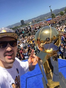 Klay Thompson with the NBA Championship trophy