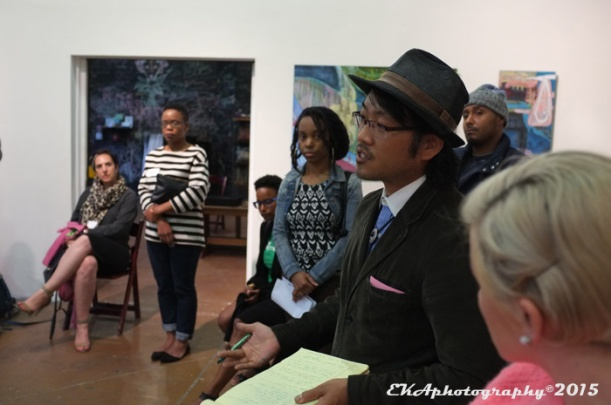 Community memebrs discuss art at an Oakland Creative Neighborhoods Coalition meeting