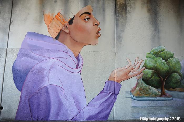 """Oakland Superheroes"" mural in progress"